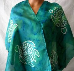 Silk Scarf With Green Turtles. Hand Painted Green Sea Turtle Wrap. Hand Dyed Tribal Silk Scarf. 15X60 in. Island Mosaic Turtle Scarf.. $48.00, via Etsy.