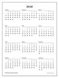 Calendário para imprimir 2018 - Ciriacus