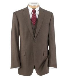 Groom and Best Man Suits: Joseph 2 Button Wool Vested Suit with Plain Front Trousers