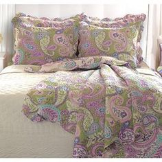 """Paisley cotton quilt set.  Product: Twin: 1 Quilt and 1 standard sham Full/Queen: 1 Quilt and 2 standard shamsKing: 1 Quilt and 2 king shamsConstruction Material: CottonColor: MultiDimensions: Standard Sham: 20"""" x 26"""" eachKing Sham: 20"""" x 36"""" each Twin Quilt: 68"""" x 88"""" Full/Queen Quilt: 90"""" x 90""""  King Quilt: 95"""" x 105""""  Cleaning and Care: Machine washable"""