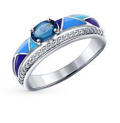 Серебряное кольцо с топазами, фианитами и эмалью