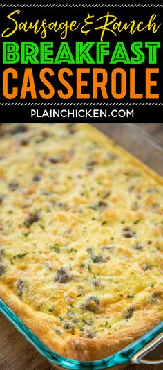Sausage and Ranch Breakfast Casserole Recipe - CRAZY good! Crescent rolls topped with eggs milk cheddar sausage and ranch. Ready to eat in about 30 minutes. Great for potlucks brunch breakfast lunch dinner and tailgates! Everyone RAVES about this Breakfast Potluck, Easy Breakfast Casserole Recipes, Breakfast Casserole Sausage, Breakfast Pizza, Best Breakfast Recipes, Breakfast Dishes, Brunch Recipes, Gourmet Recipes, Cooking Recipes