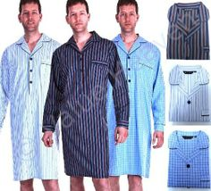 51890b1e53be1c Haigman Mens 100% Cotton Nightshirts - Striped Checked - Sizes + Colours  Value Heaven,