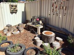 A huge collection of ideas for creative outdoor play areas shared by early years educators. Try them in the backyard or daycare spaces! kids play area natural materials Ideas for Children's Outdoor Play Areas and Activities Outdoor Learning Spaces, Kids Outdoor Play, Outdoor Play Areas, Kids Play Area, Outdoor Fun, Outdoor Play Kitchen, Kids Outdoor Spaces, Mud Kitchen For Kids, Backyard Play Spaces