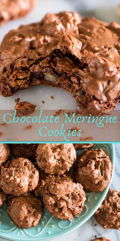 These chocolate meringue cookies are beyond irresistible! Crunchy on the outside with a chewy center that's loaded with walnuts. This is the type of cookie that you simply cannot just have one at a time. They're great for potlucks, especially during the summer since they're not very messy. #meringuecookies #chocolatemeringuecookies #cookies #chocolatecookies #dessert #meringuedessert