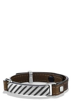"""Free shipping and returns on David Yurman 'Modern Cable' ID Bracelet in Army Green at Nordstrom.com. Sterling silver. Army green leather, 7"""" circumference, 11mm wide. Snap button closure. By David Yurman; imported."""