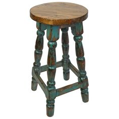 This painted wood green patina rustic bar stool with turned legs will enrich any home cantina or kitchen decor with it's Mexican country look. The bar stool seat is a natural stained brown and reveals the unique wood grain. Painted Bar Stools, Rustic Bar Stools, Wooden Stools, Painted Chairs, Painted Wood, Painting Wooden Furniture, Diy Pallet Furniture, Unique Furniture, Rustic Furniture