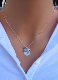 PERSONALIZED Tree and Sparrow Bird necklace in by RoyalGoldGifts, $32.00