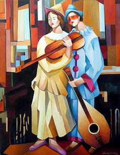 Pierrot and Colombina by brazilian painter Damião Martins