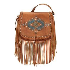 Pueblo Moon Crossbody Fringe Bag Front in Golden Tan at Lufli Boutique, lufli.com! This fun fringe crossbody is your perfect weekend handbag. Genuine leather and unique design plus will go with everything!