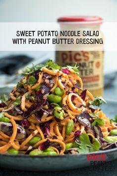 Sweet potato / Kumara noodle salad recipe from Vegetarian Recipes, Cooking Recipes, Healthy Recipes, Kumara Salad, Kumara Recipes, Sweet Potato Noodles, Noodle Salad, Yum Food, Limes