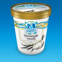 Ice cream packaging that has a white tub with a gold rimmed lid. It has yellow and blue swirly lines going across. And there's a logo in a s...