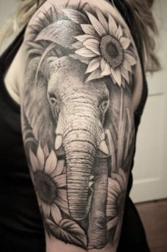 Finished this up a few days ago – might need a quick tightening up once healed, … Sunflower tattoo – Top Fashion Tattoos Mandala Elephant Tattoo, Elephant Thigh Tattoo, Elephant Tattoo Design, Elephant Tattoos, Girl Arm Tattoos, Sleeve Tattoos For Women, Cute Tattoos, Beautiful Tattoos, Body Art Tattoos