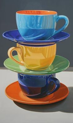 Daryl Gortner: oil on canvas - Coffee cups Coffee Cup Art, Hyper Realistic Paintings, Oil Pastel Drawings, Still Life Photos, Henri Matisse, Still Life Photography, Painting Inspiration, Oil On Canvas, Watercolor Paintings