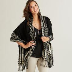 Black and White Ruana Hoodie www.worldmarket.com #WorldMarket Fashion Trends
