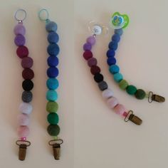 Trine Nordentoft made these cute Pacifier Chains from Sostrene Grene Feltballs.