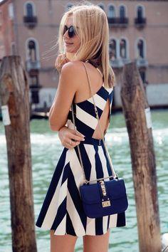 Open-Back Striped Dress & Blue Bag