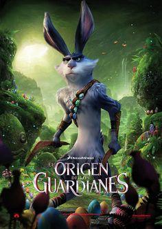 Cartel español español personaje Conejo Pascua en El origen de los guardianes