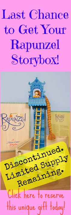 Click here to reserve your Rapunzel storybox today. http://kiddokorner.com/steve-light-storybox-rapunzel.html This product has been discontinued and only a limited supply are still available. You and your kiddo will love this amazing storybox and comprehension tool. $49.95
