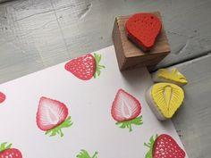 eraser stamp One strawberry stamp & strawberries multicolor push eraser rubber set - Beach Field Stamp - Stamps & Stamp Pads Strawberry Art, Eraser Stamp, Stencil Wood, Japanese Stationery, Stamp Carving, Fabric Stamping, Stamp Printing, Stamp Pad, Wood Stamp