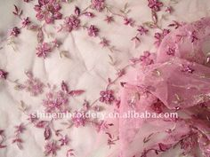 Light Pink Tulle Fabric With Handwork Embroidery