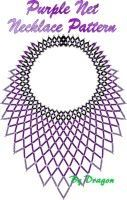 Purple Net Necklace Pattern and Kit Beading Projects, Beading Tutorials, Beading Patterns, Beaded Necklace Patterns, Beaded Earrings, Native Beadwork, Beading Needles, Diy Necklace, Necklaces