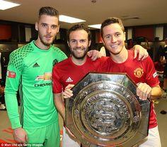 David de Gea, Mata and Ander Herrera pose with the Community Shield at Wembley