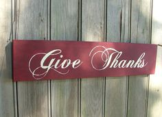Give Thanks  Thanksgiving Sign Cranberry Red by GreenChickens,