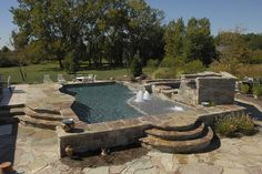 Gunite Pool & Spa with Raised Natural Deck by aspools, via Flickr