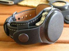 Genuine Leather Watch Strap 20mm 22mm Black Men Watch Bund Band Vintage Cuff  #Handmade #vintage Black Leather Watch, Leather Cuffs, Bracelets For Men, Fashion Watches, Watch Bands, Black Men, Etsy, Bracelet Watch, Watches For Men