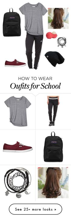 """My school look for when I go to school"" by madina9907 on Polyvore featuring adidas, Vans, Pin Show, Eos and JanSport"