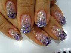 gel nails with dark blue glitter