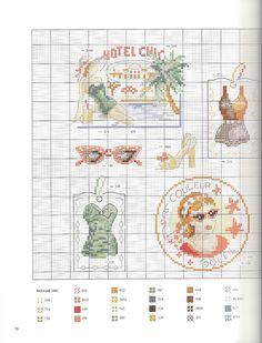 0 point de croix fille vintage à la plage hotel chic - cross stitch woman at the beach vintage