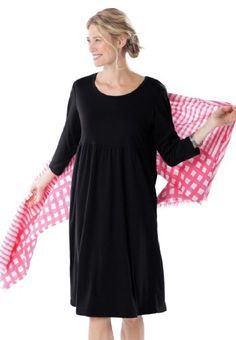 Dress in soft knit with modern fit, empire waist $24.99