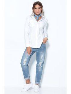 Pantalón vaquero boyfriend con rotos y motas de pintura Vaqueros Boyfriend, Jeans Store, Denim, Coat, Jackets, Women, Fashion, Vestidos, Shirts