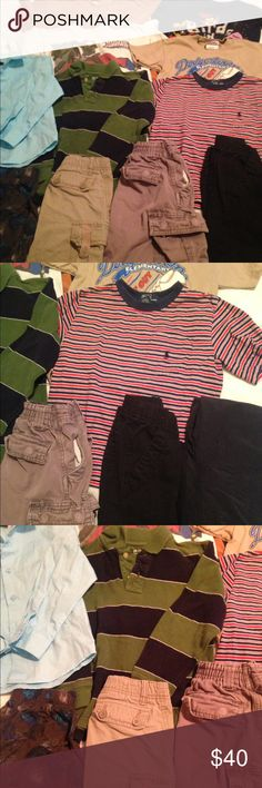12 piece boys lot size 6 Gently used size 6 boys clothes. Included: 2 pairs of pants, 1 pair of comfy pj pants, 2 long sleeve shirts (one is a dress shirt & the other is a Gap green stripe), 2 pairs of cargo shorts and 5 tee-shirts. Has normal wear and the dress shirt was only worn once 💕 mixed Other