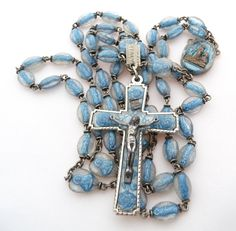 Hey, I found this really awesome Etsy listing at https://www.etsy.com/listing/213787505/1958-lourdes-anniversary-rosary-blue