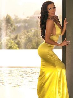 Abigail Ratchford in a yellow dress...