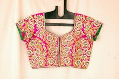 Pink & Gold Kundan Work Embroidered #Blouse.