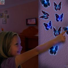 Ever imagined having small butterflies decorating your home? Well it is possible, since the LED butterfly with suction pad will allow you to add a colour scheme to any chosen room. This LED butterfly has two movements (fast and slow) and different. Butterfly Lighting, Butterfly Wall Decor, Led Fluorescent, Kids Wall Decor, Colour Schemes, Lava Lamp, Foyer, Light Up, Table Lamp