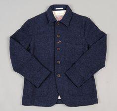 UNIVERSAL WORKS: Baker's Jacket, Navy Harris Tweed