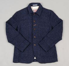 Baker's Jacket in Navy Harris Tweed by Universal Works.