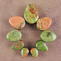 Unakite is an altered granite consisting of feldspar and green epidote.  This is a completely natural stone, unaltered from its...