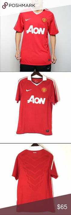 Nike Manchester United Jersey The Manchester United Stadium Mens Soccer Jersey is made with sweat-wicking mesh fabric for breathable comfort during play. Featuring a team crest on the left chest, this lightweight home shirt celebrates your team! Nike Shirts Polos
