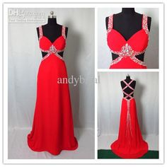 Discount - Sexy V-neck Colorful Crystal Beaded Sexy Backless Red Long Chiffon Evening Prom Dress 2013 Actual Model Online with $116.9/Piece | DHgate