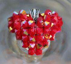 Blingin' Love Heart Pendant Shiny Red Coral by HandmadeJILLry