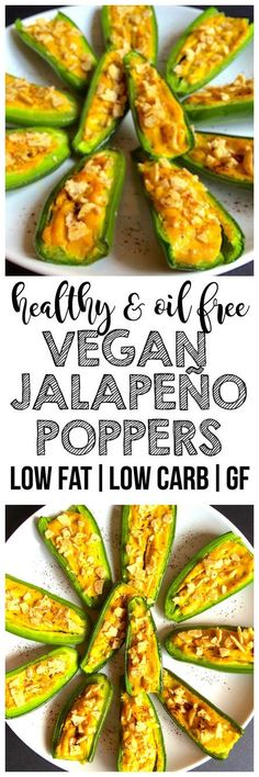 Vegan Jalapeño Poppers that are perfect for an appetizer or game day or Super Bowl party snack! (Gluten-Free, Oil-Free, Low-Fat, Low-Calorie, Low-Carb)