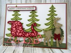 http://nicolejuliewilson.blogspot.com.au/ The Artful Stampers Blog Hop Colour Challenge 100 Pear Pizzazz, Always Artichoke, Flirty Flamingo, Cherry Cobbler and Crumb Cake using Santa's Sleigh Bundle