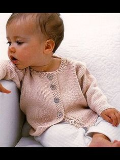 jacket with seed stitch bands from Baby Knits For Beginners by at http://KnittingFever.com                                                                                                                                                      More