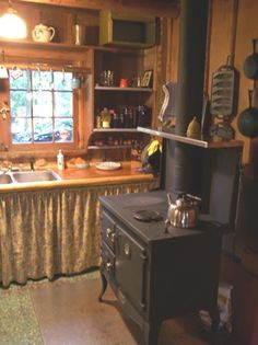 love this cute little cabin kitchen